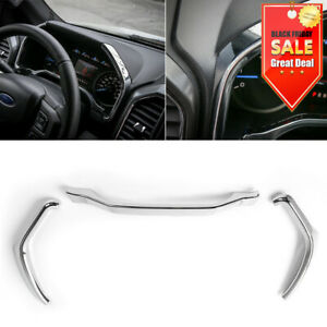 Chrome For Ford F150 2015 Dashboard Instrument Box Trim Strip Cover Accessories