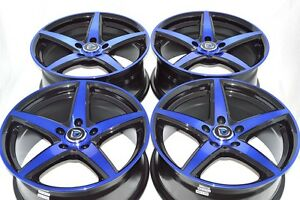 17 Blue Wheels Rims Is300 Civic Legacy Eclipse Camry Forte Optima Avalon 5x114 3