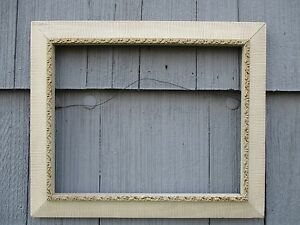 Vintage Mid Century Modern Carved White Picture Frame Fits 12 3 4 X 16