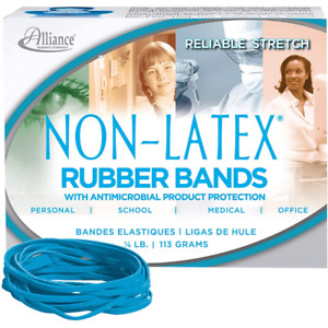 Alliance Antimicrobial Rubber Bands Size 33 3 1 2 X 1 8 Inches Cyan Blue