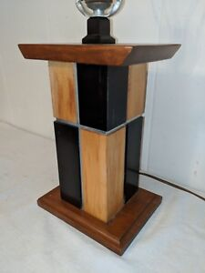 Gorgeous Vintage Mcm Wood Polished Aluminum Table Lamp Pearsall Eames Kagan Era