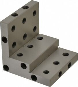 Stepped Angle Plate Steel Precision Ground P n 00938969 3 W X 3 H 3 D 24 Hole