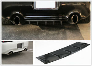 Jdm Racing 5 Fin Car Lower Rear Body Bumper Lip Diffuser Shark Fin Spoiler Gloss