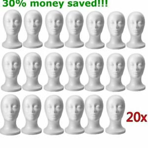 1 20 Pack Fashion Styrofoam Foam Head Mannequin Display Wig Hat Stand White Foam