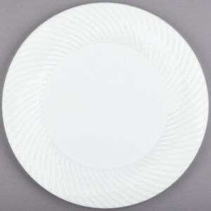 144 pack 10 White Round Scalloped Plastic Dinner Plates