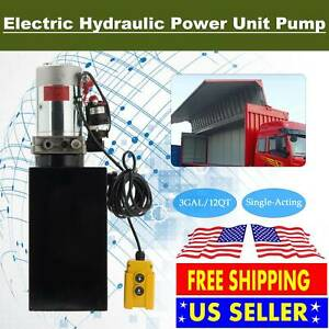 15 Quart Double Acting Hydraulic Dc 12v Pump Dump Trailer Unit Metal Reservoir