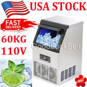 60kg 132lbs Auto Commercial Ice Cube Maker Machines Bar Freezers 110v 230w Usa