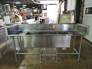 Commercial Stainless Steel 4 compartment Sink W 2 Drainboards And Backsplash
