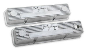 Chevy Small Block M t Vintage Style Finned Valve Covers Holley 241 86