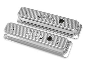 Chevy Small Block Finned Vintage Style Center Bolt Valve Covers Holley 241 248