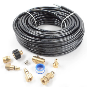 Sewer Line And Drain Jetter Kit 3 16 X 100 Hose With Sewer Nozzle