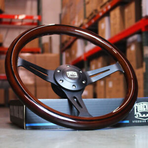 14 Inch 350mm Black Steering Wheel With Dark Wood Grip 6 Hole Classic Chevy