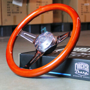 14 Inch Steering Wheel Light Wood Polished 3 Spokes 6 Hole Chrome Horn Button