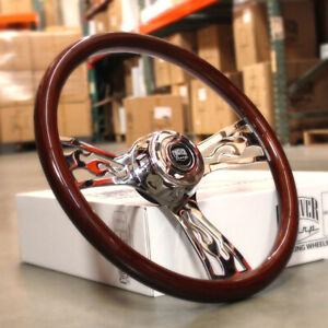 18 Steering Wheel 3 Spoke Flame Wood Chrome Big Rig