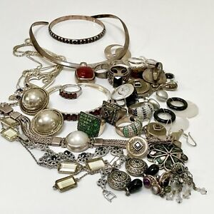 Vintage 925 Sterling Silver Jewelry Lot Not Scrap