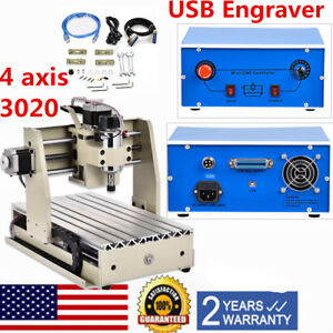 Usb Cnc 4 Axis 3020 Router Engraver Engraving Cutting Milling Machine 300w