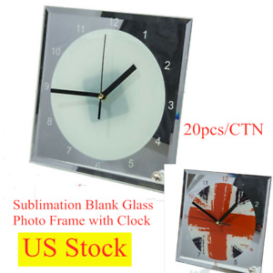 Hot Us Stock 20pcs 7 8 X 7 8 Sublimation Blank Glass Photo Frame With Clock
