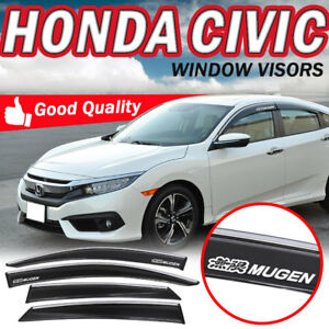 Fit 16 17 Civic X 4dr Sedan Oe Style Window Visor Chrome Trim W mugen Sticker