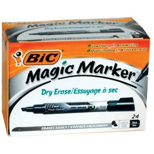 Bic Magic Marker Dry Erase Markers 24 count Black Chisel Tip