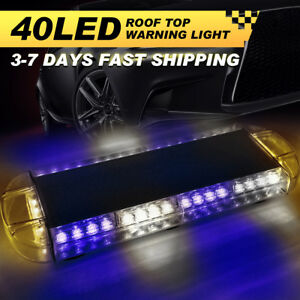 22 40 Led Emergency Warning Strobe Light Bar Beacon Hazard Response Blue White