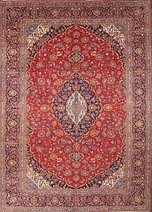 Excellent Traditional Floral 10x14 Kashan Persian Area Oriental Rug 13 6 X 9 9