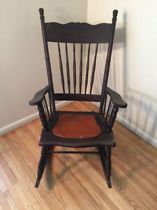Antique Rocking Chair With Pressed Back Spindles Leather Seat 1800s 1