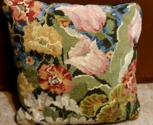 Vintage Needlepoint Tapestry Pillow