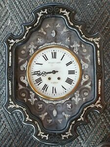 Rare Antique French Wall Clock Circa 1800s With Mother Of Pearl Inlay