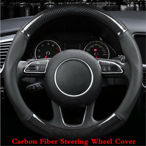 15 Inch Carbon Fiber Stitching Steering Wheel Cover Black Non Slip Black 38cm