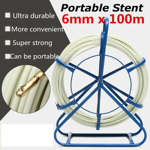 100m 328ft Fish Tape 6mm Fiberglass Wire Cable Running Rod Duct Rodder Puller Us