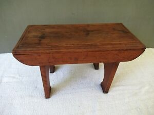 Antique Foot Stool Small Bench Vintage Primitive Oak Wood 18 X 9 Footstool