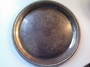 International Silver Co 12 25 Round Silver Plated Serving Tray Platter
