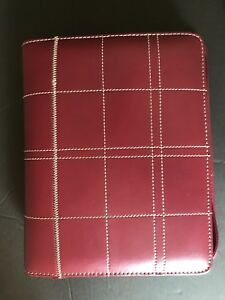 Franklin Covey Leather Classic Planner Binder Zipper 7 1 5 Rings Burgundy Lknw