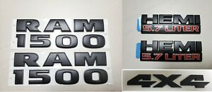 5pcs Set Black Dodge Ram 1500 4x4 Hemi Emblem Badge Logo Letters Nameplate