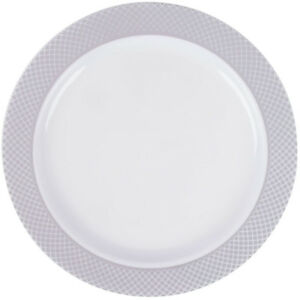 150 pack 6 White Plastic Appetizer Dessert Plates With Silver Lattice Design