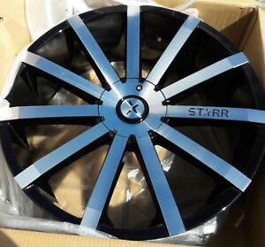 Starr 222 Mayhem Black Machined 24x9 Custom Wheels Rims 4 24 Charger 300c Srt