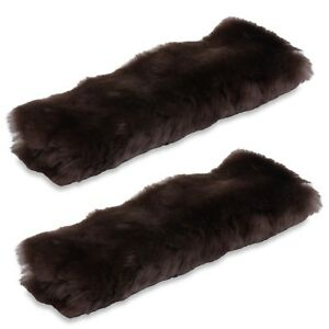 Andalus Authentic Sheepskin Car Seat Belt Cover 2 Pack Brown Soft Shoulder Pad