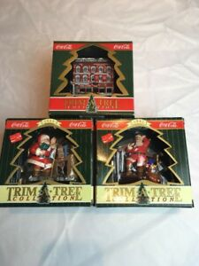 Coca Cola Christmas Santa Ornaments Lot of 3 Trim A Tree Collection