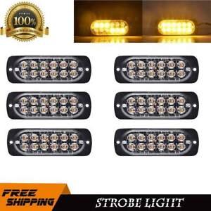 6x Amber Strobe Light Led Bar 12 Diodes Emergency Flash Truck Hazard Beacon Warn