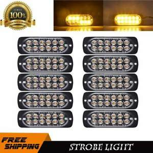 10x Amber Strobe Light Led Bar 12 Diodes Emergency Flash Truck Hazard Beacon