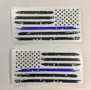 Set Of 2 Black Thin Blue Line Distressed Flag Decal Stickers For Jeep Ford Dodge