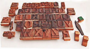 Wood Rubber Letterpress Printing Blocks Alphabet Numbers Unusual Symbols Vintage