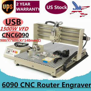 Usb Cnc Router Engraver 6090 4 Axis 1500w Spindle Vfd Engravering Mill Machine