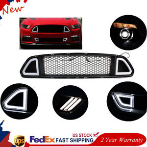 For Ford Mustang 2015 2016 2017 Front Upper Grill Mesh Grille W Drl Led Light