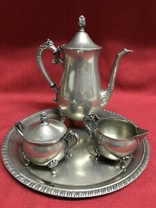 Stamped Silver Plated Hong Kong Coffee Tea Service Set W Serving Tray