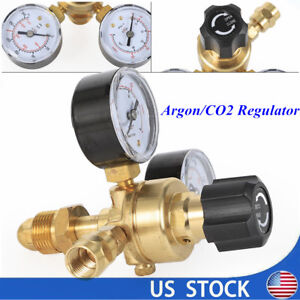 Argon Co2 Regulators 2 Dual gauges Gas Bottle Mig Tig Welding Flow Meter Cga580