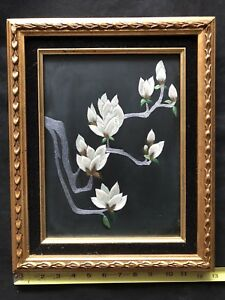Fine Antique Chinese Textile Framed Silk Floral Hand Embroidery On Black Silk