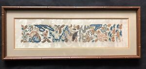 Antique Chinese Textile Framed Silk Floral Hand Embroidery Panel On Silk 1800 S
