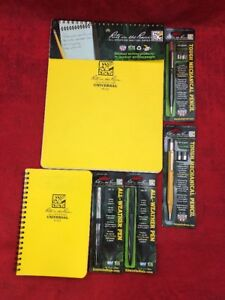 6 Piece Lot Rite In The Rain All Weather Universal Notepads Pens Pencils