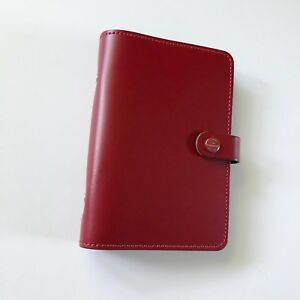 Filofax Original Pill Box Red Personal Organizer Planner Leather